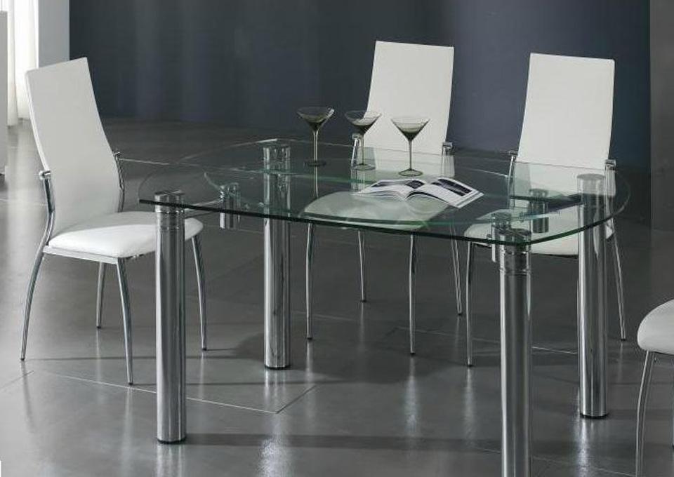 Mesa de centro elevable de cristal y acero cromado car - Mesas de comedor cristal y acero ...